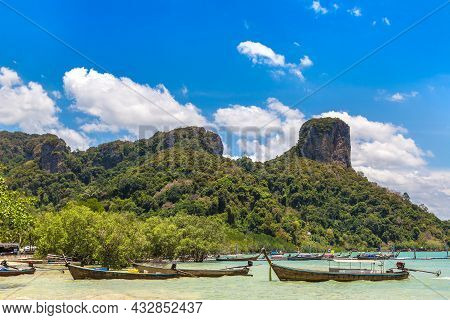 Thai Traditional Wooden Longtail Boat At Railay East Beach In Krabi, Ao Nang, Thailand