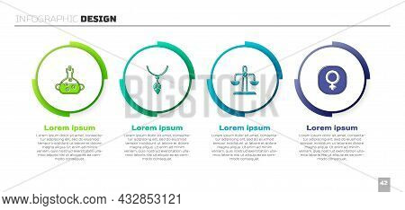 Set Poison In Bottle, Necklace With Crystal, Libra Zodiac And Venus. Business Infographic Template.