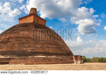 Jethawanaramaya Stupa In Sri Lanka In A Summer Day