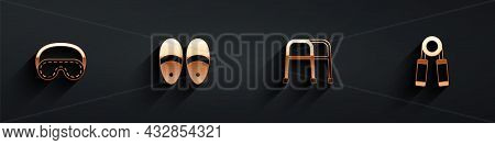 Set Eye Sleep Mask, Slippers, Walker And Sport Expander Icon With Long Shadow. Vector