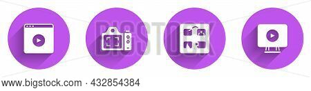 Set Online Play Video, Photo Camera, Storyboard And Icon With Long Shadow. Vector