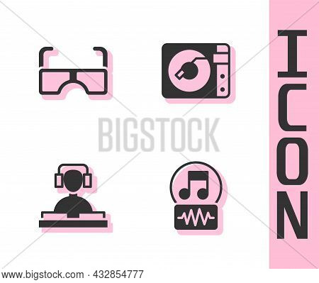 Set Music Note, Tone, Glasses, Dj Playing Music And Vinyl Player With Vinyl Disk Icon. Vector