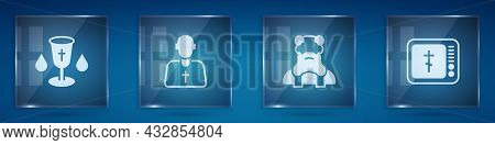 Set Christian Chalice, Priest, And Online Church Pastor Preaching. Square Glass Panels. Vector