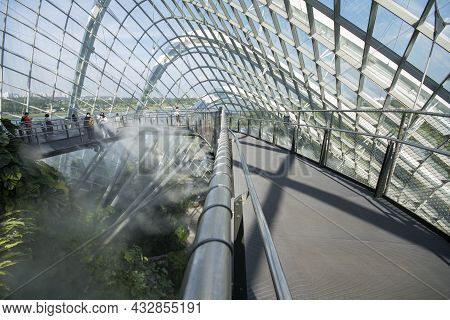 Singapore- Sep 9, 2021: Cloud Forest Conservatory In Gardens By The Bay In Singapore With Cool-moist