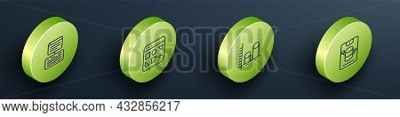 Set Isometric Line Server, Data, Web Hosting, Different Files, Analysis And Icon. Vector