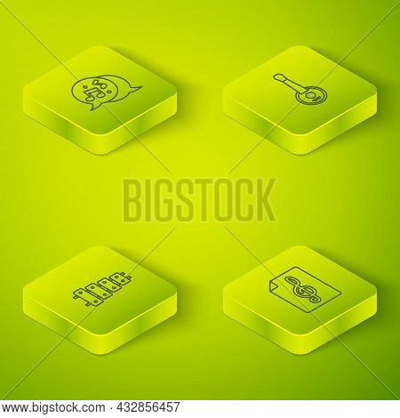 Set Isometric Line Banjo, Xylophone, Treble Clef And Music Note, Tone Icon. Vector