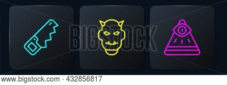 Set Line Hand Saw, Masons And Mask Of The Devil With Horns. Black Square Button. Vector