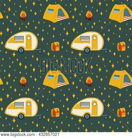 Pattern With Tent And Rv Camping. Colorful Background With A Mobile Home On Wheels For Relaxing In T