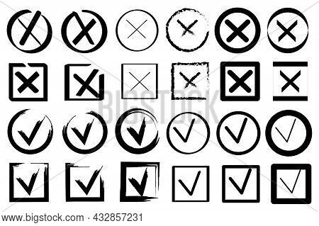 Mark Symbol. Cross Icon. Sketch Illustration With Cross Check Mark Choice. Vector Illustration. Stoc
