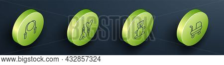 Set Isometric Line Jump Rope, Dart Arrow, Teddy Bear Plush Toy And Baby Stroller Icon. Vector