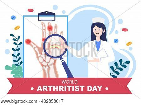World Arthritis Day Background Which Is Celebrated On October 12. Medical Treat Rheumatism, Osteoart