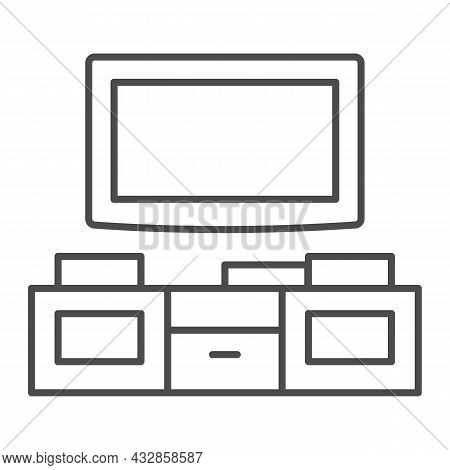 Tv And Tv Stand Thin Line Icon, Interior Design Concept, Television Unit Cabinet Vector Sign On Whit