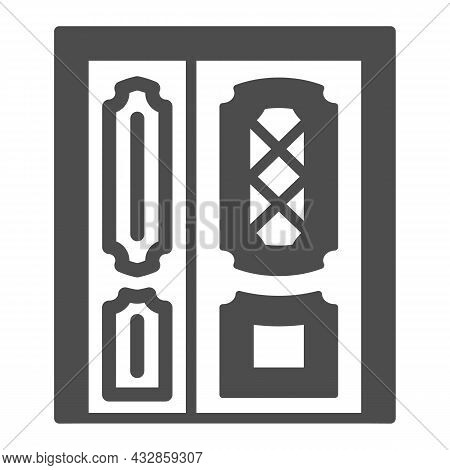 Front Door Solid Icon, Interior Design Concept, Main Entrance Vector Sign On White Background, Glyph