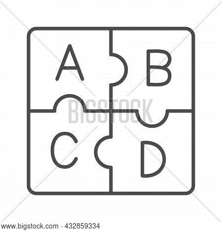 Letters Abc, Puzzle Alphabet Thin Line Icon, Linguistics Concept, Puzzle Pieces Letter Vector Sign O