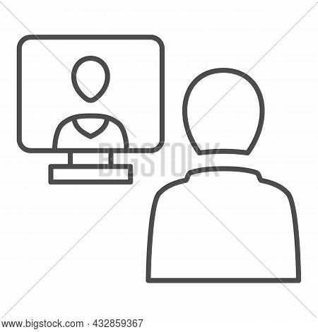 Distance Learning, Online Communication Thin Line Icon, Connection Concept, Online Meeting Vector Si