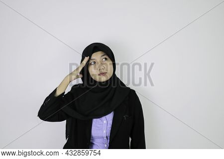 Serious Daydreaming Gesture Young Asian Islam Woman Wearing Headscarf.