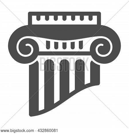 Fragment Of Greek Column Solid Icon, Interior Design Concept, Part Of Ancient Column Vector Sign On