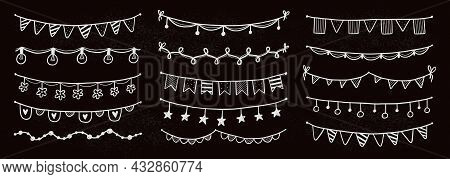 Party Garland Set With Flag, Bunting, Pennant On Chalkboard. Hand Drawn Sketch Doodle Style Garland.