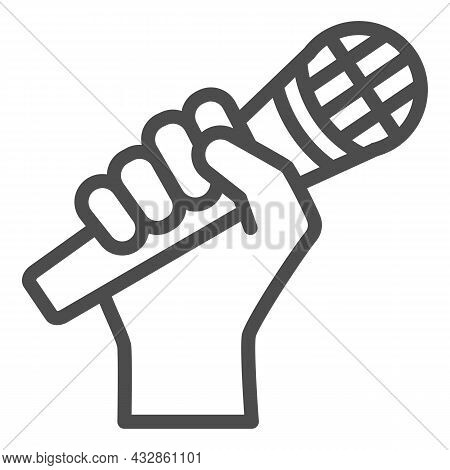 Microphone In Hand Line Icon, Sound Design Concept, Hand Holding Mic Vector Sign On White Background