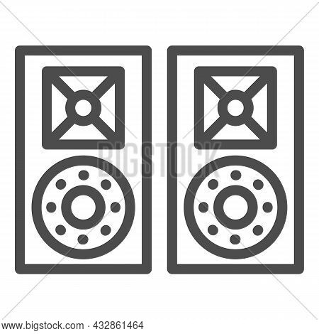 Monitor Speakers, Studio Acoustic System Line Icon, Sound Design Concept, Audio Set Vector Sign On W
