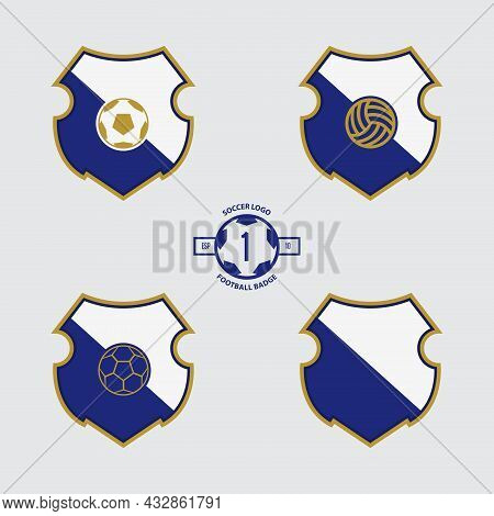 Soccer Badge Or Football Logo Design For Football Team. Emblem Design Of 3 Style Soccer Ball And A S