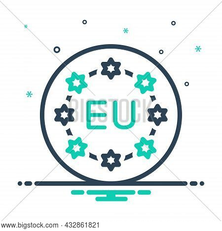 Mix Icon For European Union Community Flag Banner Continent Country Currency Nation  Democracy Patri