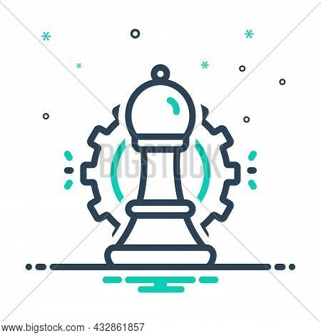 Mix Icon For Strategic Tactical Strategical Bishop Intelligence Corporate Chessboard Challenge Game
