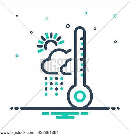 Mix Icon For Climate Rainy Fahrenheit Showery Thunder Forecast Weather Season Changing Environment