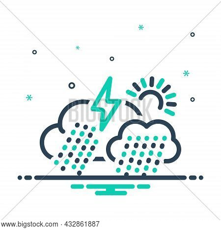 Mix Icon For Climate Rainy Showery Thunder Forecast Weather Season Changing Atmospheric-conditions E