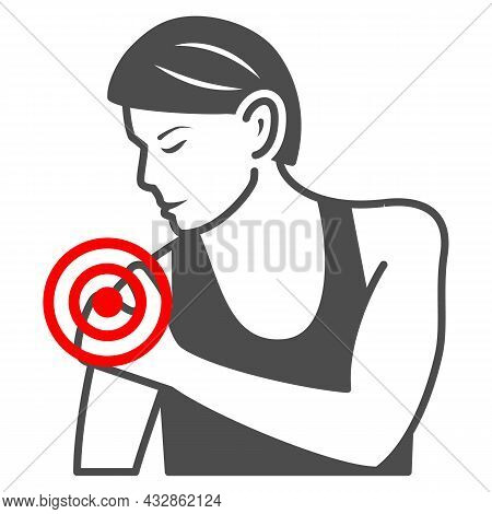 Woman Shoulder Hurts Solid Icon, Body Pain Concept, Shoulder Pain Vector Sign On White Background, G