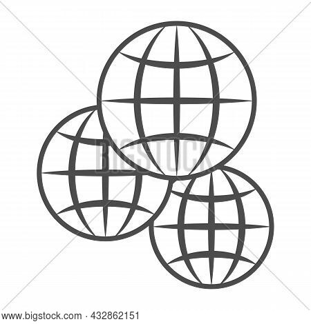 Three Globes, Multicultural, Worldwide Thin Line Icon, International Concept, Exchange Vector Sign O
