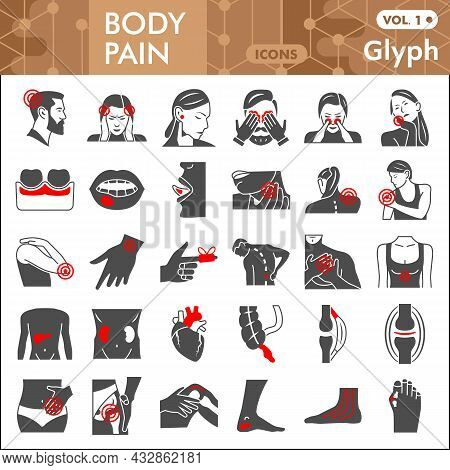 Body Pain Line Icon Set, Human Diseases Symbols Collection Or Sketches. Ache Glyph Linear Style Sign