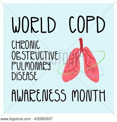 World Copd Chronic Obstructive Pulmonary Disease Day Card. Human Healthy Lungs System.
