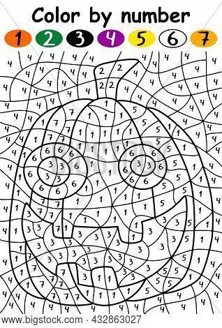 Halloween Jack O'lantern Color By Number Vector Illustration. Funny Cartoon Pumpkin With Crazy Smile