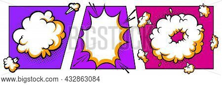 Surprising Boom Cloud In Halftone Background For Sales And Promotions. Purple And Violet Banner Temp