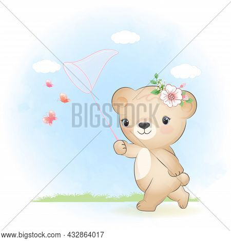Cute Little Bear And Catching Butterflies With Net Cartoon Animal Watercolor Illustration