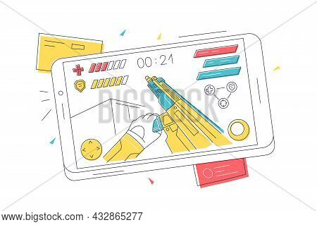 Video Game On Mobile Phone Vector Illustration. Smartphone Screen With Online Video Game Linear. Ent