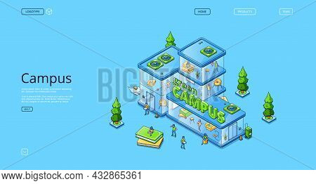 Green Campus Isometric Landing Page, People Work And Study In Modern Glass Building, University, Cow
