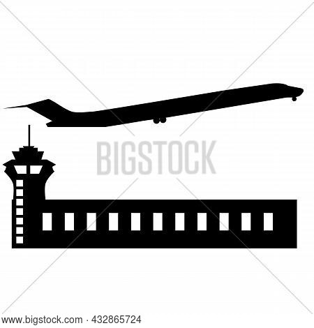 Airport With Tower And Airplane Take Off On White Background. Airport Building Sign. Plane Is Landin