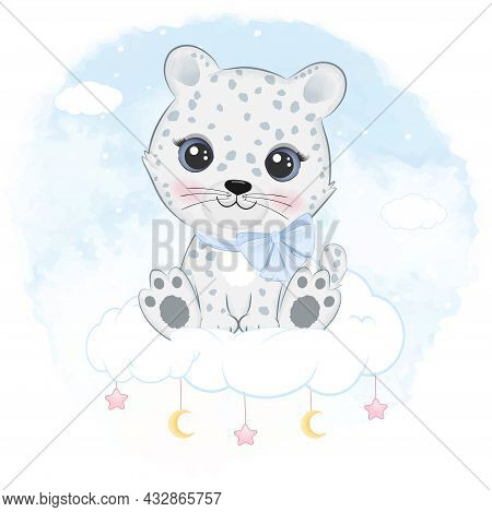 Cute Little Snow Leopard Sitting On The Cloud Arctic Animal Watercolor Background