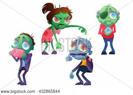 Cartoon Zombie Halloween Characters, Funny Horror Mascots Eating Brain, Holding Eye Ball, Chewing Ar