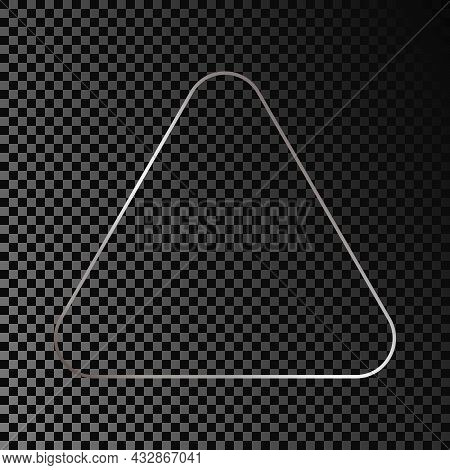 Silver Glowing Rounded Triangle Frame Isolated On Dark Transparent Background. Shiny Frame With Glow