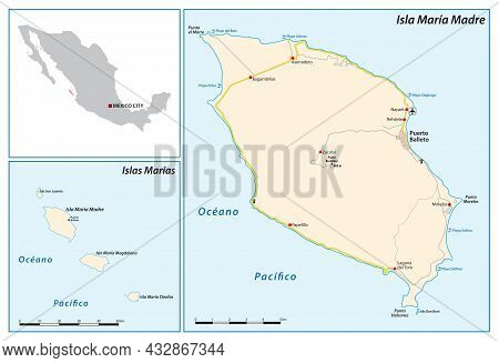 Map Of The Mexican Archipelago Of Marias Islands In The Pacific Ocean