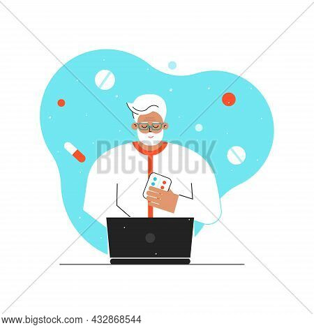 Vector Flat Concept. Online Medical Consultation And Diagnostic By Old Doctor Using Video Call On Co
