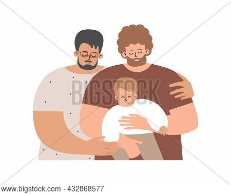Vector Flat Concept About Family Relations By Caucasian Foster Fathers. Lgbt Parenting. Homosexual D