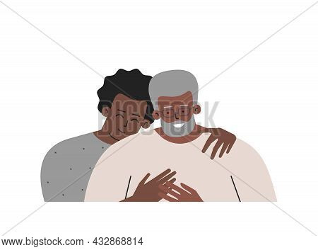 Vector Isolated Portrait. Son And Happy Senior Dad Spend Day Together. Teenager Hugs His Father. Two