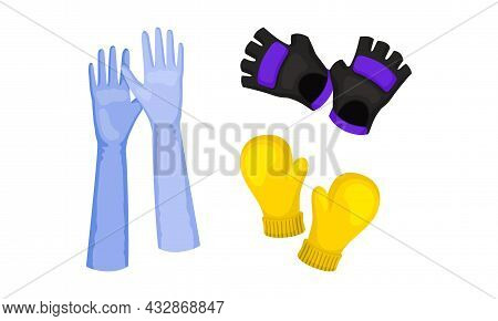 Pair Of Gloves And Mittens As Garment Covering Hand Vector Set