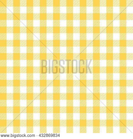 Yellow And White Scotland Textile Seamless Pattern. Fabric Texture Check Tartan Plaid. Abstract Geom