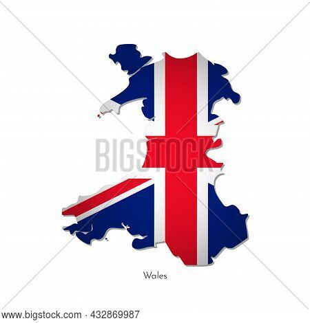 Vector Isolated Illustration With Silhouette Of Wales United Kingdom Of Great Britain And Ireland Ma