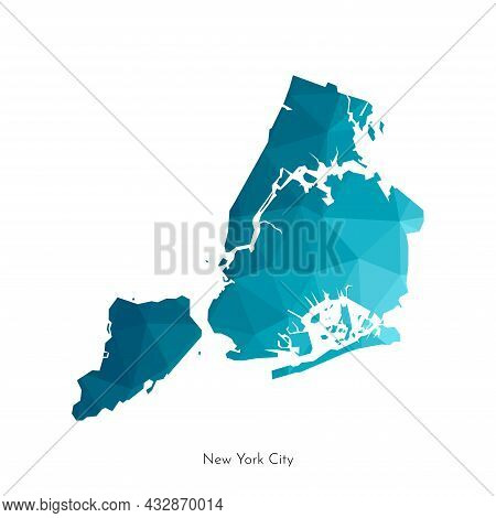 Vector Isolated Illustration With Simplified Geometrical Shape Of New York City Map City In The Unit